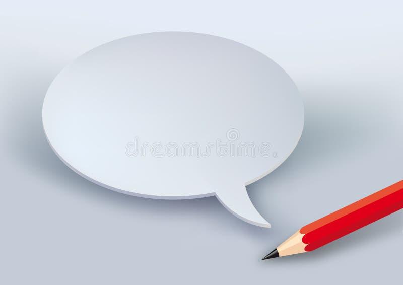En röd blyertspenna och en tom humorbokbubbla stock illustrationer