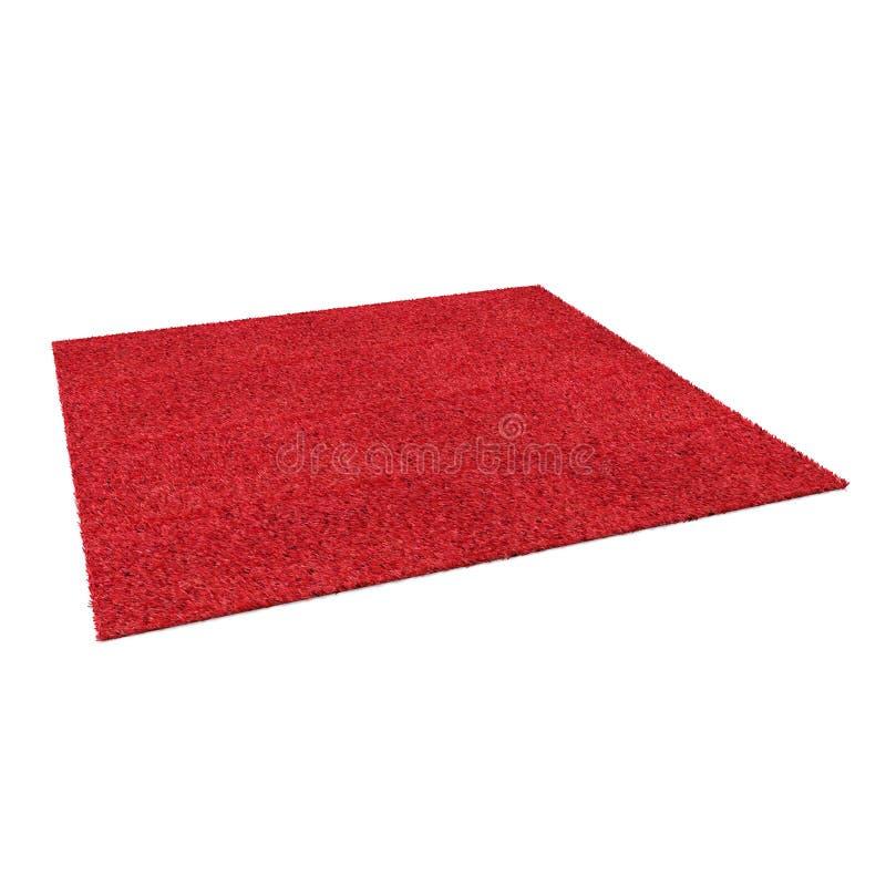 En röd filt för golv som isoleras på en vit illustration 3d stock illustrationer