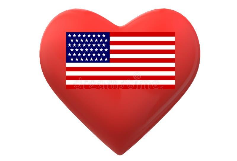 En röd hjärta med flaggan av Amerikas förenta stater inom mot en vit bakgrund stock illustrationer