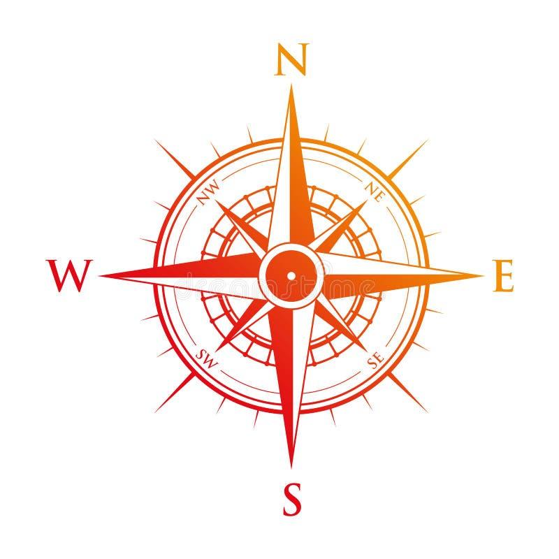 En röd kompass royaltyfri illustrationer
