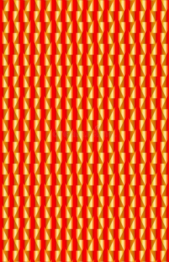 En röd och guld- modellyttersida med trianglar och den vertikala linjen vektor illustrationer