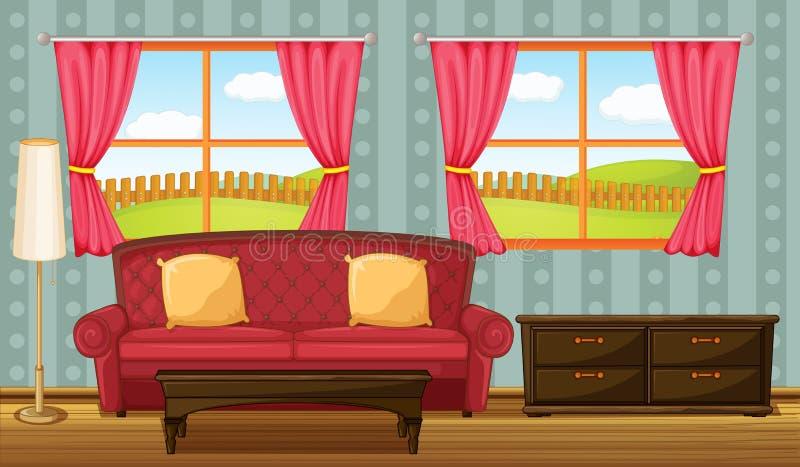 En röd soffa och sidotabell stock illustrationer