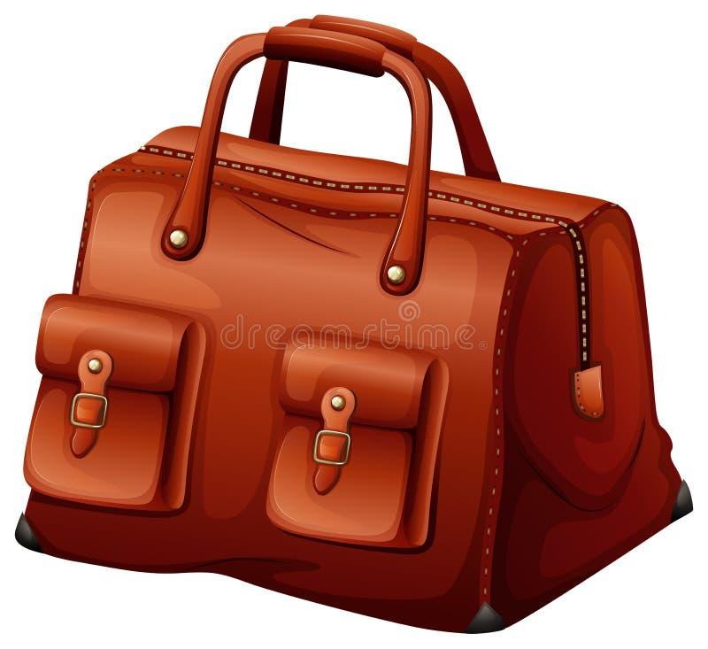 En rödbrun läderpåse royaltyfri illustrationer
