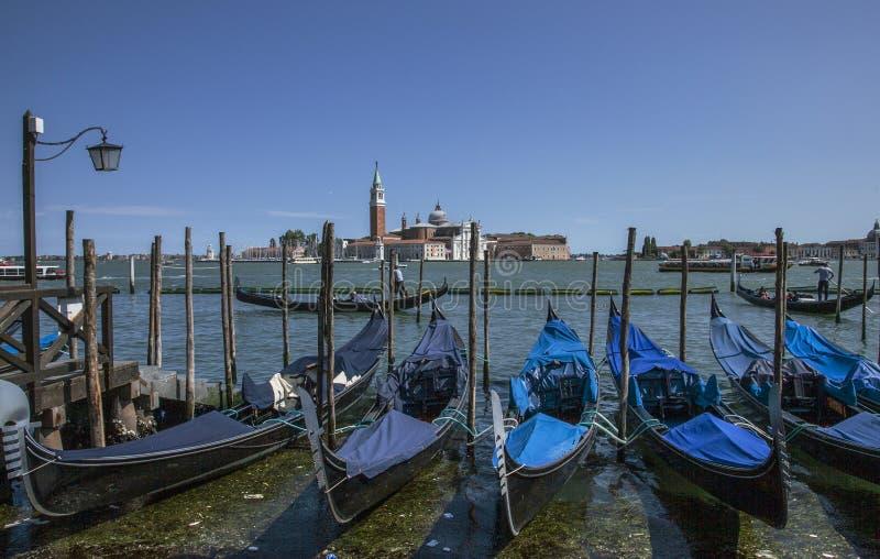 En rad av gondoler i Venedig, Italien fotografering för bildbyråer