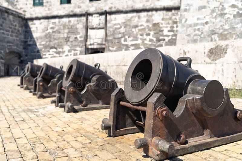 En rad av tunga kortsiktiga kanoner royaltyfria foton