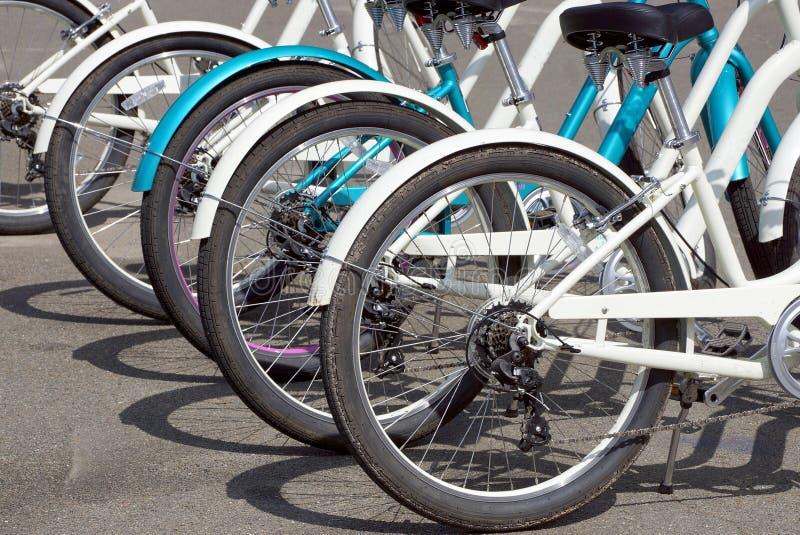 En rad av vita cyklar med hjul står på den gråa asfalten arkivfoto
