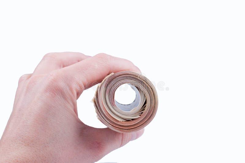En radda femtio eurosbills band det rubber bandet royaltyfri foto
