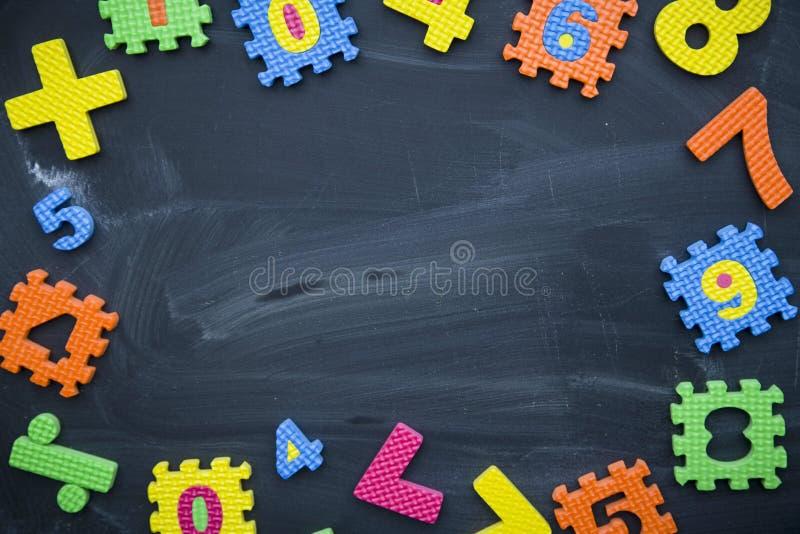 En ram av nummer och matematiska symboler på en svart tavla royaltyfria foton