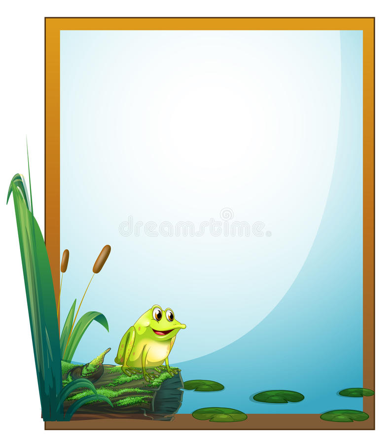 En ram med en groda i dammet stock illustrationer