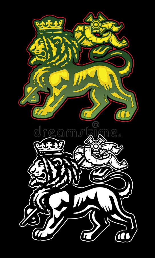 Rastafarian Lion av Judah stock illustrationer