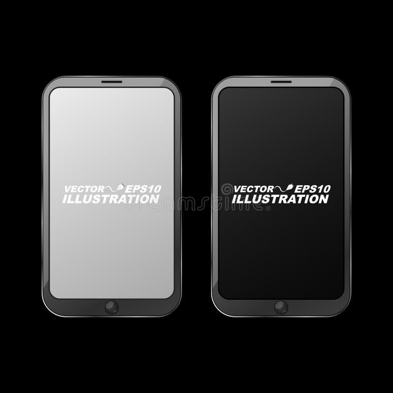 En realistisk mörk glansig smartphone på en svart bakgrund royaltyfri illustrationer