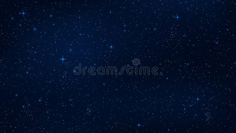 En realistisk stjärnklar himmel med ett blått glöd Glänsande stjärnor i den mörka himlen Bakgrund tapet för ditt projekt Vektor I royaltyfri illustrationer