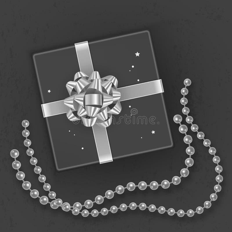 En realistisk svart gåvaask som dekoreras med en silverpilbåge, bästa sikt också vektor för coreldrawillustration royaltyfri illustrationer