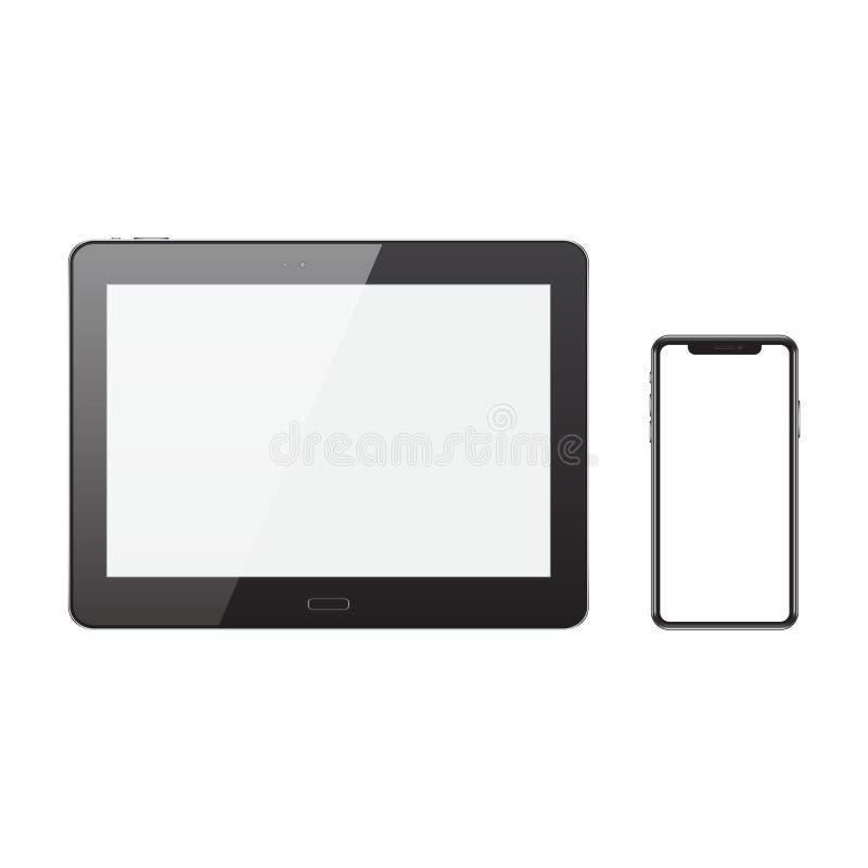 En realistisk svart minnestavladator och en mobiltelefon med en vit royaltyfri illustrationer