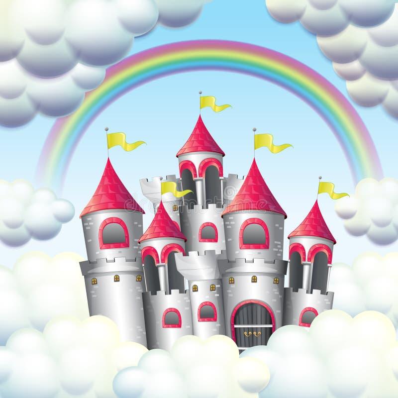 En regnbåge över härlig slott royaltyfri illustrationer