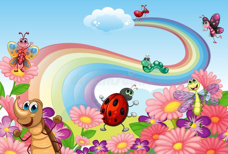 En regnbåge på trädgården med kryp royaltyfri illustrationer