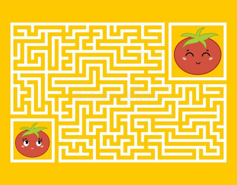 En rektangulär labyrint med ett gulligt tecknad filmtecken Finna den högra banan modiga ungar Pussel för barn Tecknad filmstil arkivfoton