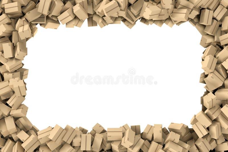 En rendant le cadre rectangulaire fait de carton beige léger expédiez les boîtes sur le fond blanc illustration libre de droits