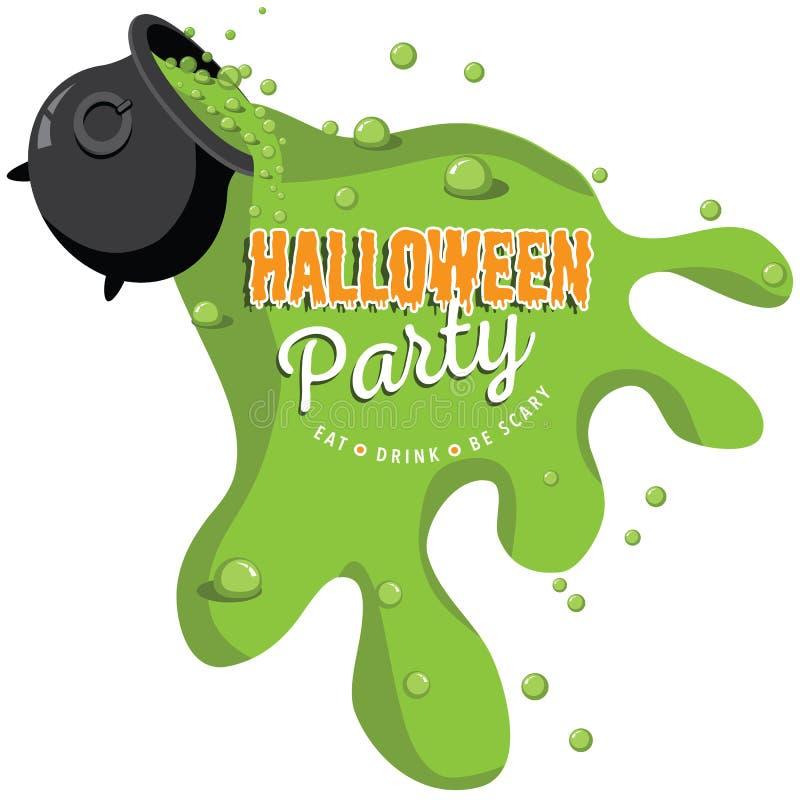 En renversant la partie de Halloween de chaudron invitez illustration libre de droits