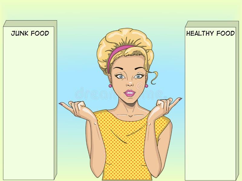En retro flicka vänder mot ett val Pekar ditt finger på två alternativ Popkonst Dietology sund mat och skadligt stock illustrationer
