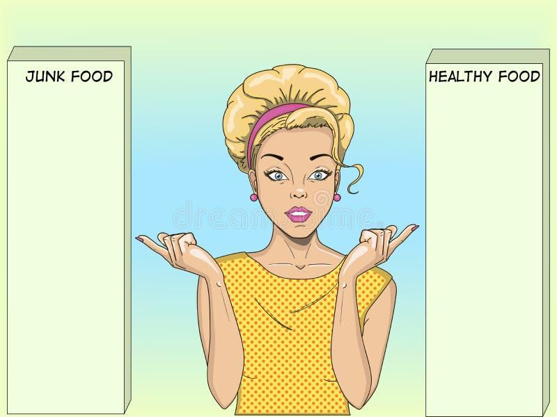 En retro flicka vänder mot ett val Pekar ditt finger på två alternativ Popkonst Dietology sund mat och skadligt royaltyfri illustrationer