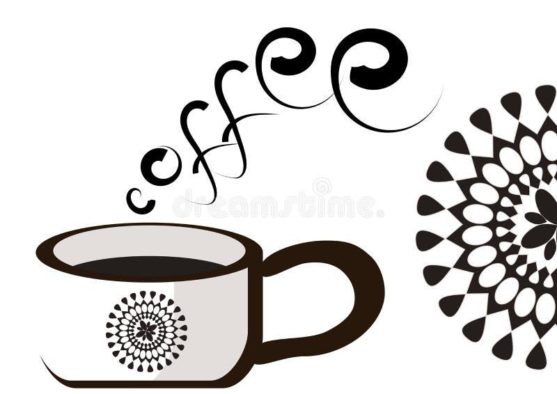 En retro klassisk stil för kopp kaffe royaltyfri illustrationer