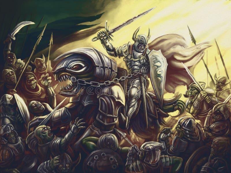 En riddare på en drake mot en armé av demoner stock illustrationer
