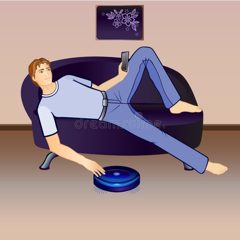 En robot är en dammsugare och en vila grabb Mannen på soffan Funktionsduglig dammsugare Närbild vektor illustrationer