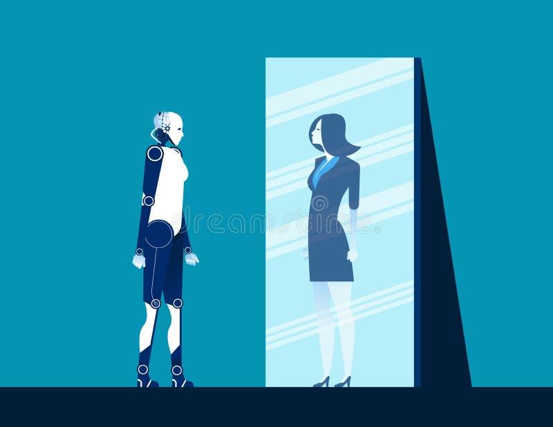 En robot die lichaam in spiegel van vrouwenbezinning bevinden zich kijken Concepten bedrijfs vectorillustratie Vlakke ontwerpstij vector illustratie