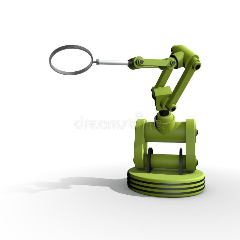 En robot med ett förstoringsglas royaltyfri illustrationer