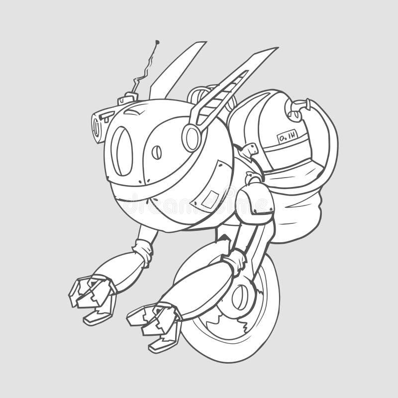 En robot med ett gyroskop på ett hjul, konstgjord intelligens Konturvektorillustration som isoleras vektor illustrationer