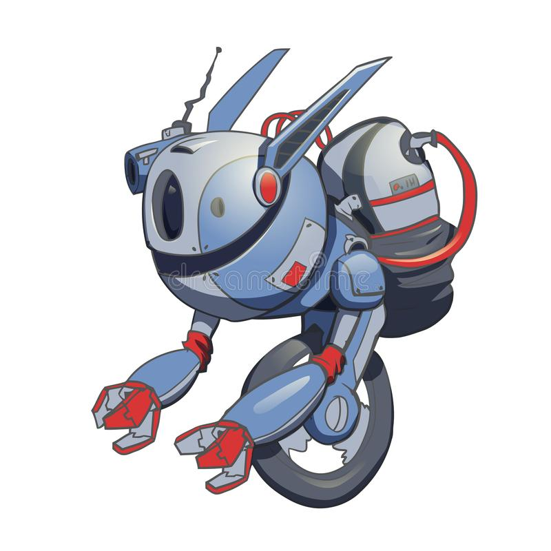 En robot med ett gyroskop på ett hjul konstgjord intelligens Vektorillustration som isoleras på white royaltyfri illustrationer