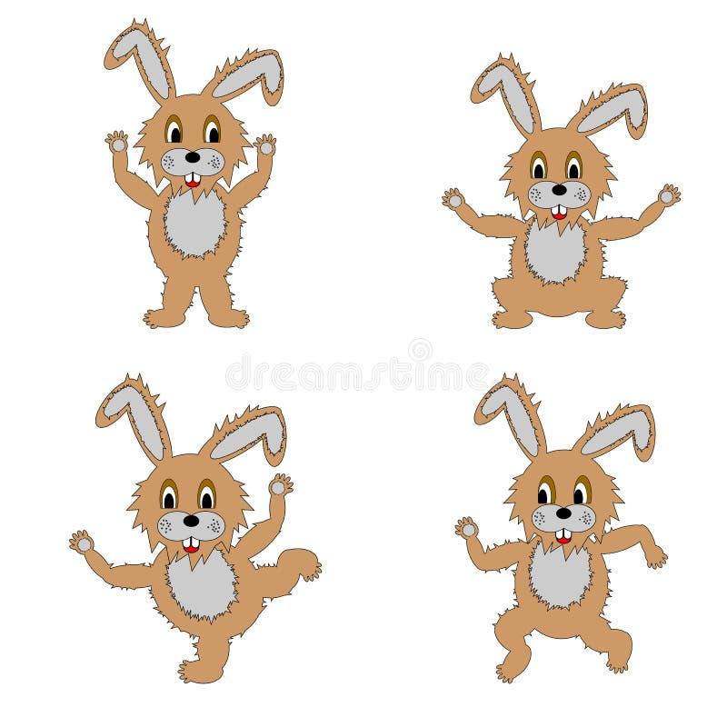 En Rolig Hare Som Gör Morgonövningar Royaltyfria Bilder