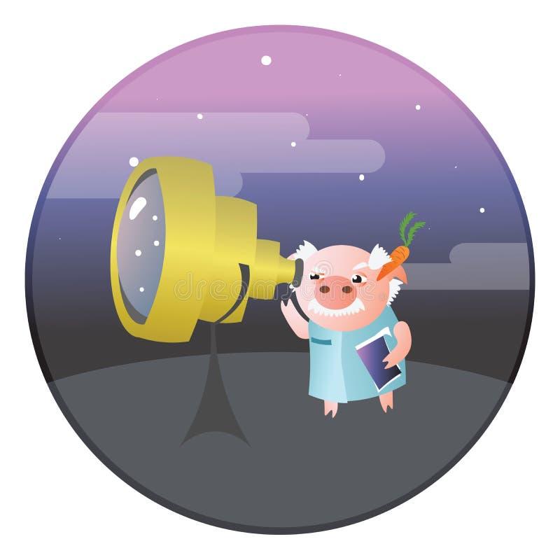 En rolig svinastronom med teleskopet stock illustrationer