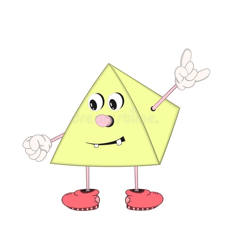 En rolig tecknad filmpyramid med ögon, armar och ben i skor ler och visar ett positivt tecken med dina fingrar royaltyfri illustrationer