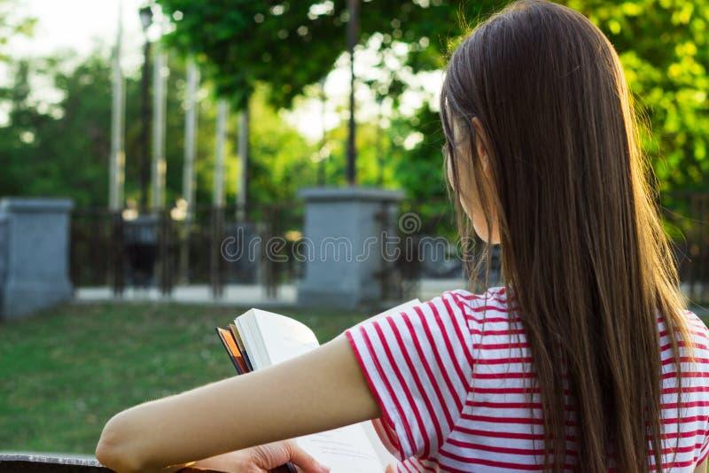 En romantisk ung flicka som läser en bok i parkera i solig dag för sommar tillbaka sikt royaltyfri bild