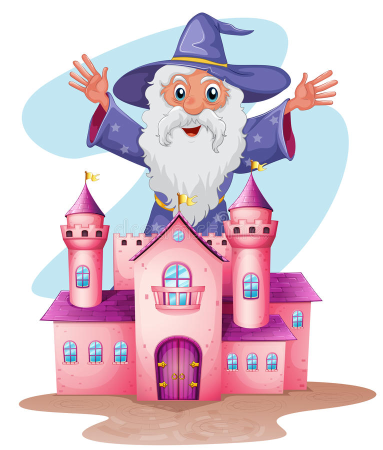 En rosa slott med en trollkarl baktill royaltyfri illustrationer