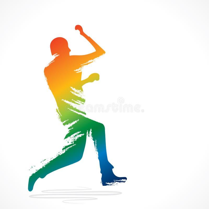 En roulant le joueur de cricket concevez par la course de brosse illustration de vecteur
