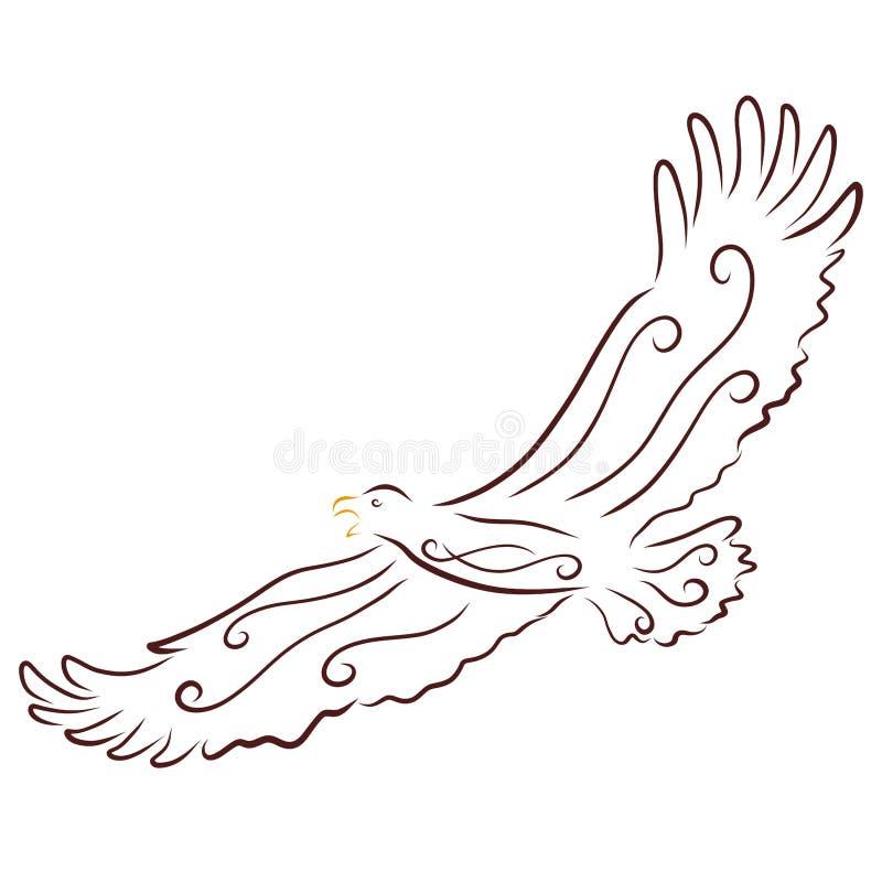 En rov- fågel för flyg med en modell stock illustrationer