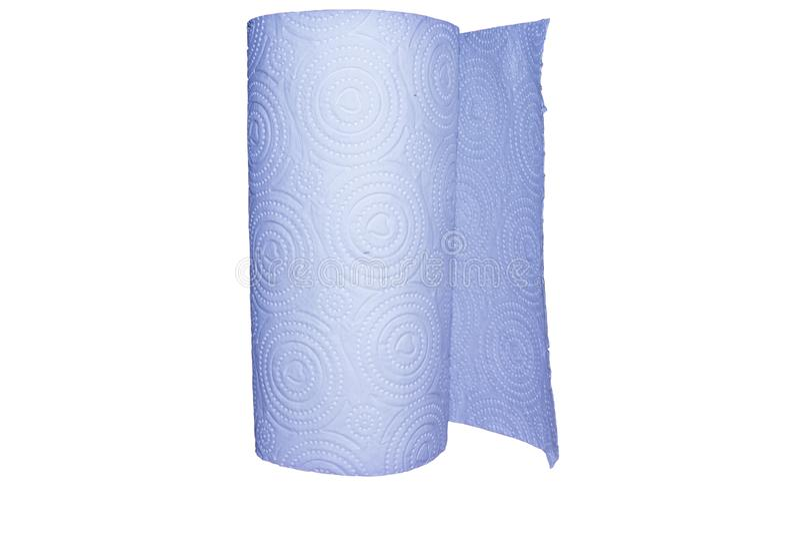 En rulle av toalettpapper som isoleras p? vit bakgrund arkivfoto