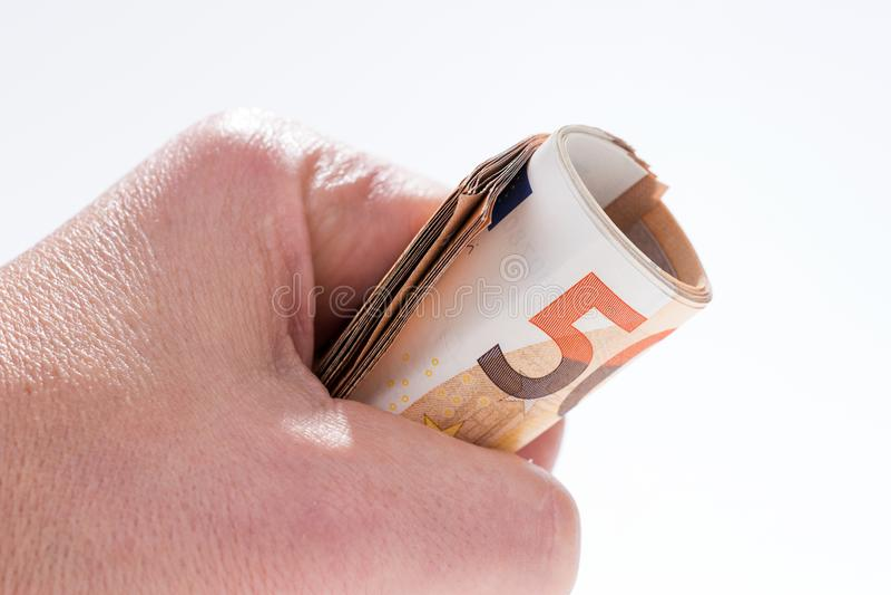 Download En Rulle Med Femtio Eurosedlar I Handen Fotografering för Bildbyråer - Bild av isolerat, bili: 106837719