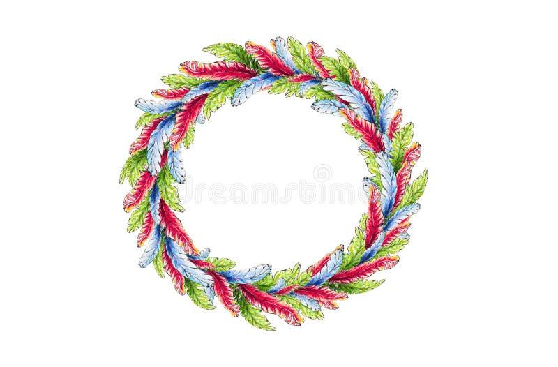 En rund krans av ljusa fjädrar av röd-blått och gröna färger i vattenfärg vektor illustrationer
