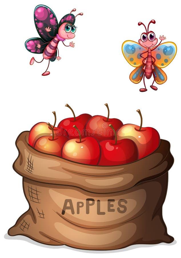 En säck av frasiga äpplen royaltyfri illustrationer