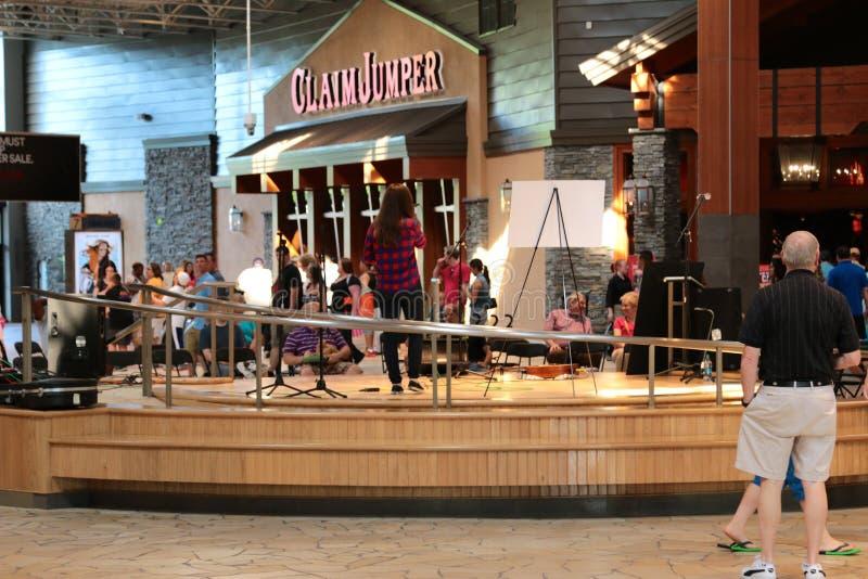 En sångare Performs på etapp på Opryen Mills Mall, Nashville, Tennessee arkivfoton