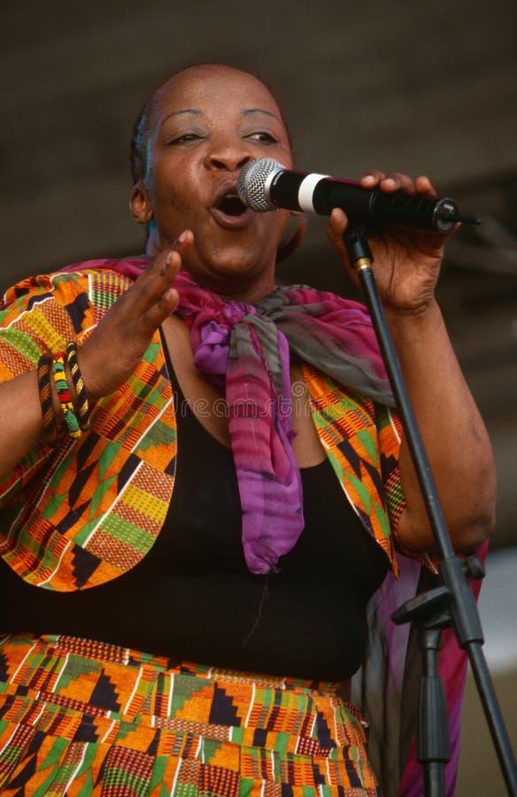 En sångare som utför på en konsert i Sydafrika royaltyfri bild