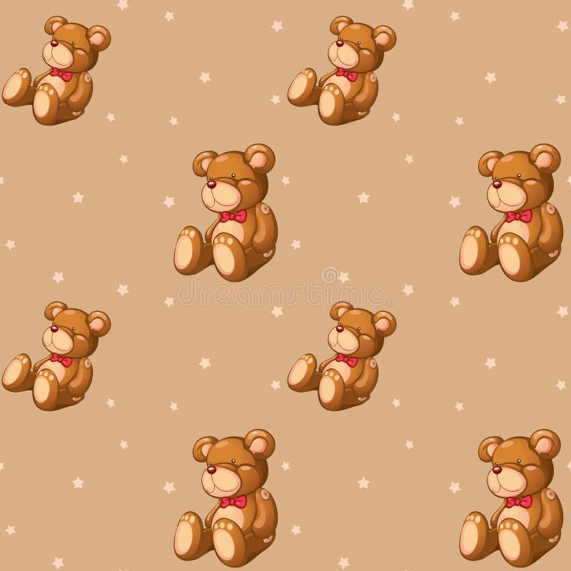 En sömlös design med nallebjörnar royaltyfri illustrationer