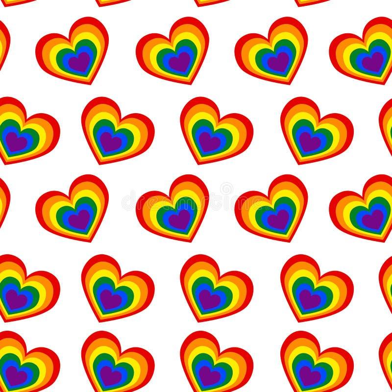 En sömlös modell av hjärtor i färgerna av en gemenskap på a stock illustrationer