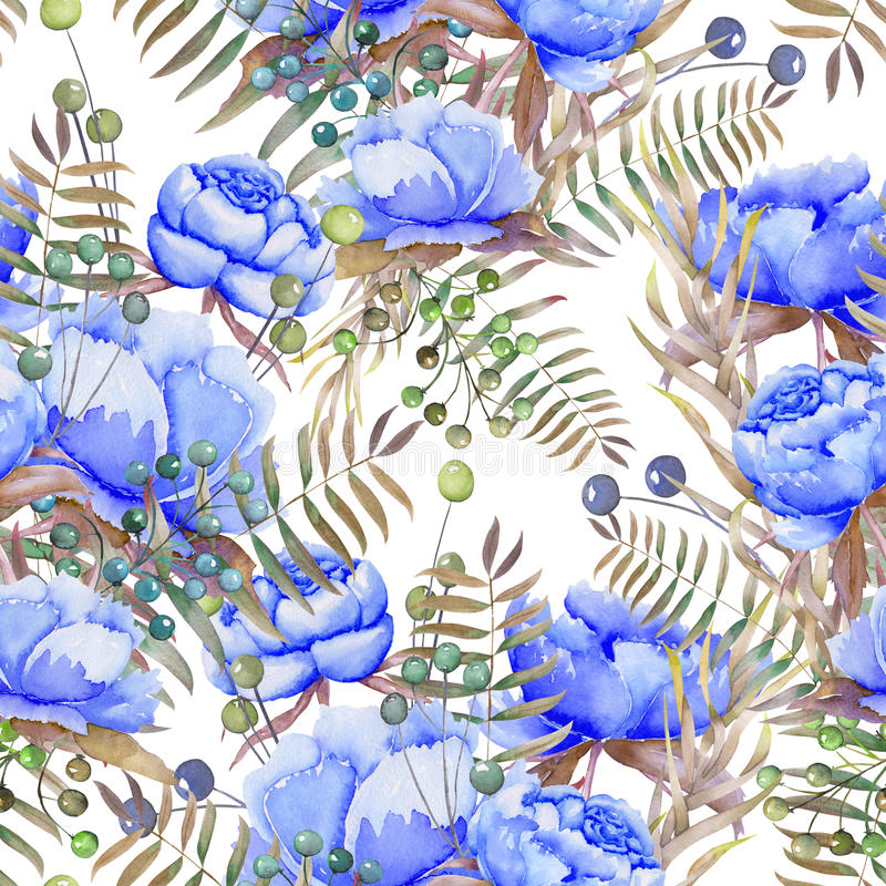 En sömlös modell med de vattenfärgblåttpionerna, bären, sidorna och filialerna vektor illustrationer
