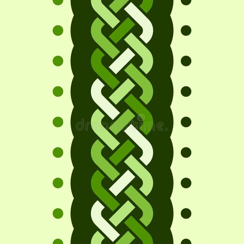 En sömlös modell med den mångfärgade vertikala flätad tråden för 4 tråd och en krabb form med prickar på ljus bakgrund, vektorill stock illustrationer