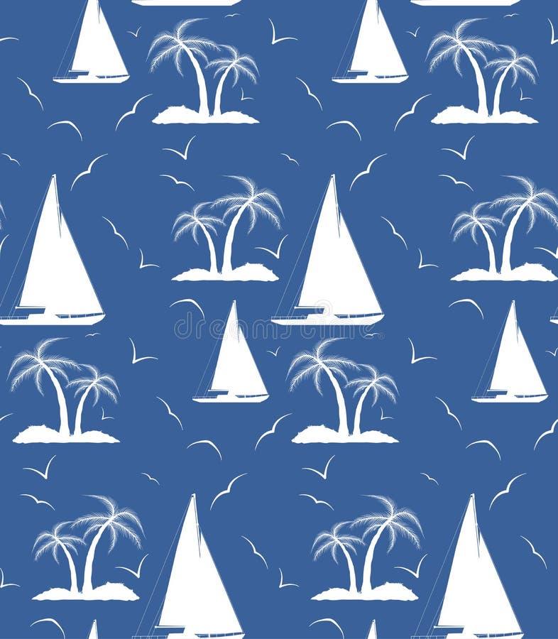 En sömlös upprepande modell av palmträd och seglingskepp Vec stock illustrationer